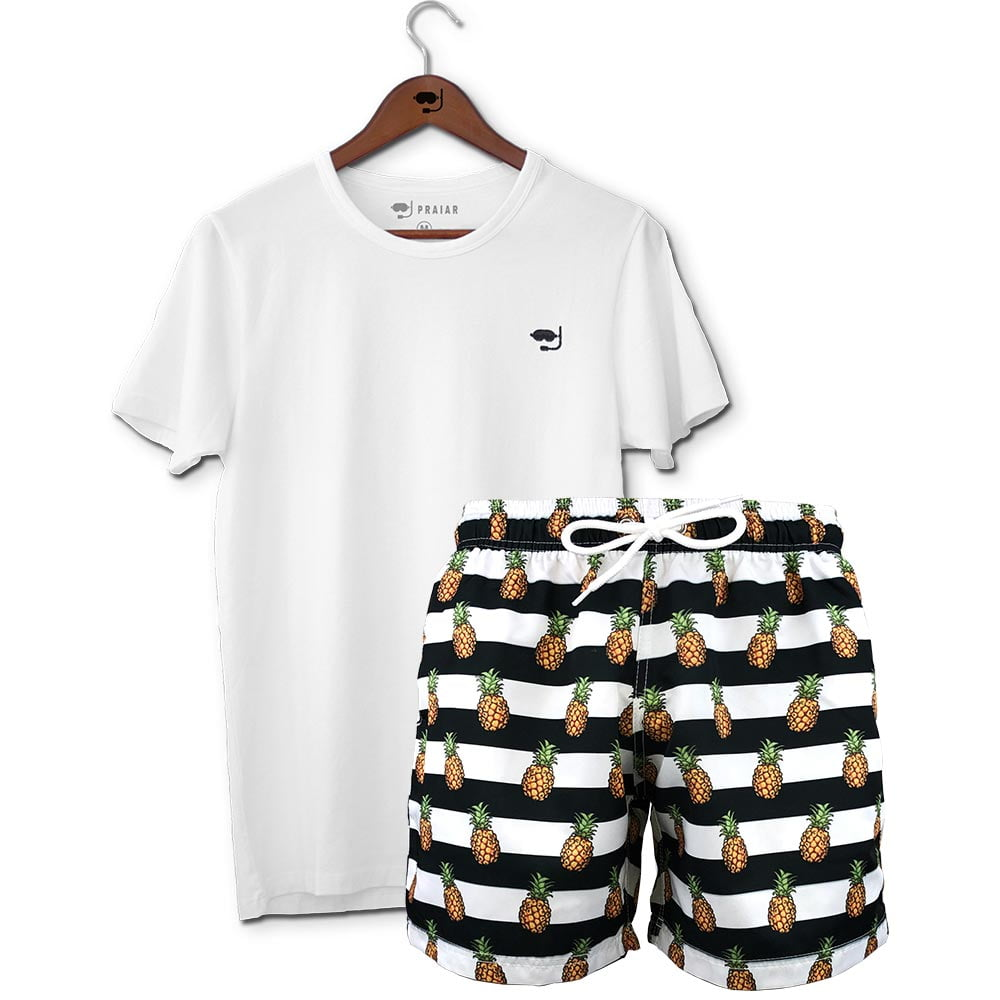 Kit Short Masculino + Camiseta Básica Praiar