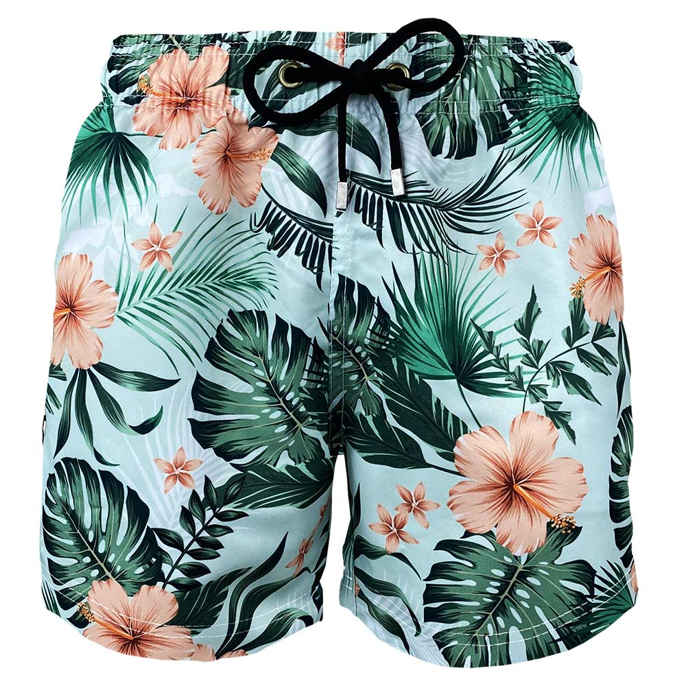 Short Masculino Estampado Flores Tropicais Praiar