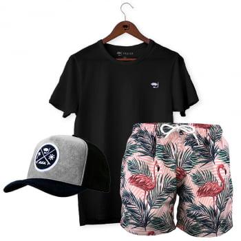Kit Short Masculino + Camiseta Básica + Boné Praiar