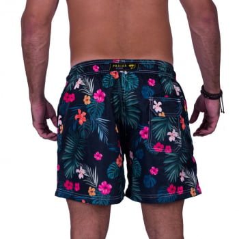 Short Masculino Estampado Florido Hibiscus Praiar